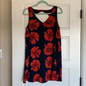 NWT small shift mini dress, blue with red floral